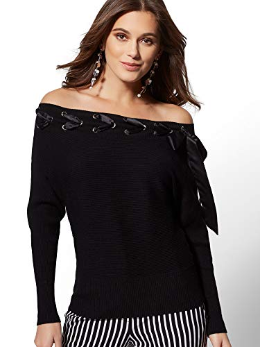 New York & Co. Women's Grommet Lace-Up Off-The-Shoulder Sweater - Medium Black