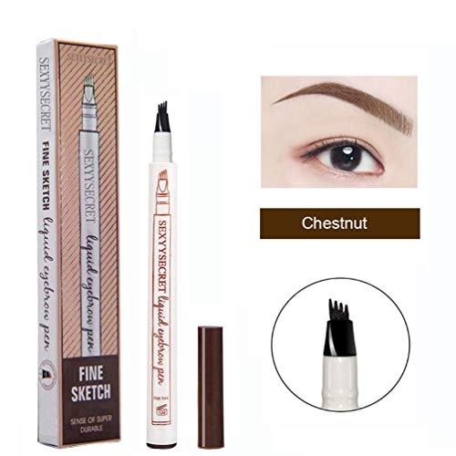 Microblading Eyebrow Pencil Tattoo Brow Ink Pen Waterproof Long Lasting SmudgeProof Eyebrow Tattoo Pen with MicroFork Tip Eyes Makeup Chestnut