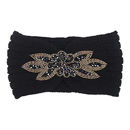 Misright Women Chunky Knitted Turban Headband Ear Thicken Warmer Head - Christmas Bling