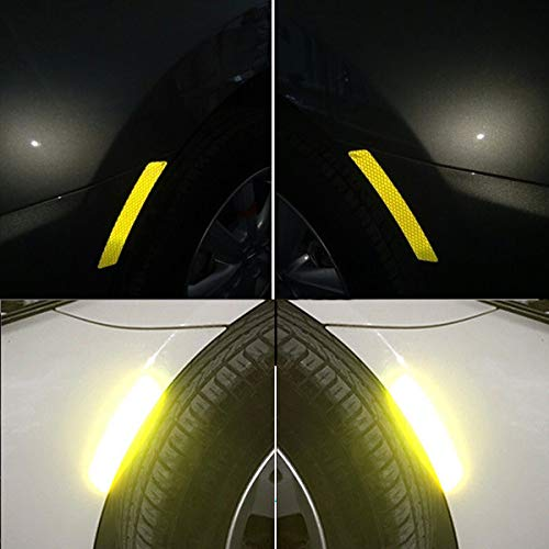 FOLCONROAD 2Pcs Car Wheel Rim Reflective Warning Strip Stickers Safety Warning Light Reflector Protective Sticker Fluorescent Green Dipuao