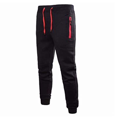 MISOWN Men's Elastic Waist Casual Jogger Pants Athletic Drawstring Running Pants Sweatpants Closed-Bottom with Zipper Pockets at Men's Clothing store