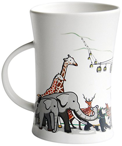 Cocera Formosa Treasure SHU-SWA031 Color Changing Porcelain Cup with Decal of Maokong Gondola Lift and Taipei Zoo Animals, Milky White