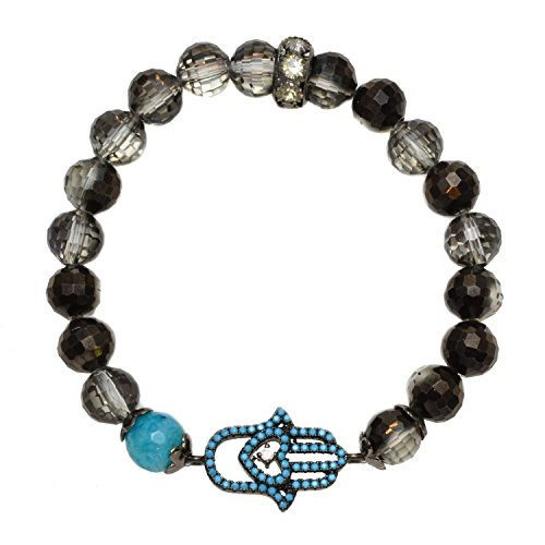 - Black Glass Czech Beads and Blue Agate Bead with Pave Hamsa Hand - Stretch Bracelet