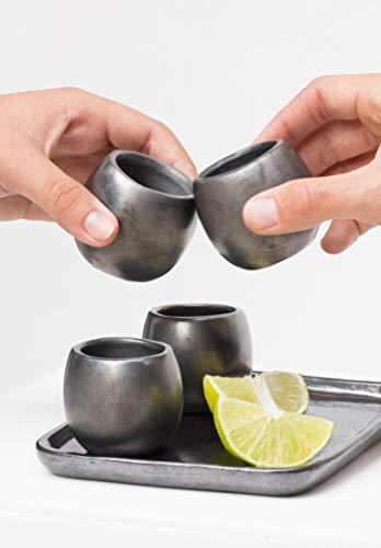 Mezcal Tequila Shots Black Pottery Barro Negro Oaxaca Dona Rosa Mexico Folk Art 1