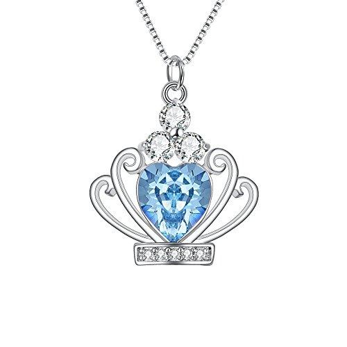 (BriLove 925 Sterling Silver Crown Necklace for Women, Swarovski Crystal CZ Heart Princess Crown Pendant Necklace Aquamarine Color March Birthstone)