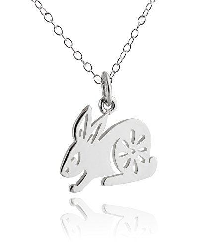 (FashionJunkie4Life Sterling Silver Chinese Zodiac Year of the Rabbit Charm Necklace, 18