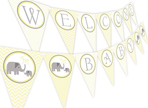 Little Elephant Yellow Baby Shower Banner -