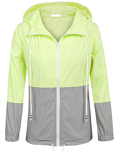 SoTeer Women's Waterproof Raincoat Outdoor Hooded Rain Jacket Windbreaker (Green/Gray XL)