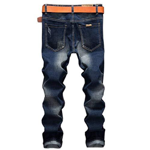 Blu Strappati Cintura Jeans Vita Media Haidean A Da Slim Elasticizzati Pantaloni Uomo Senza Casual Moderna Dritti PxnHpZgqHR
