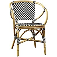 Sloane Elliot SE0021 Baskerville Chevron Bistro Chair, Black and White