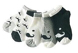 5 Pairs Kids/Baby/Toddler Socks Home/Outdoor Socks [Mustache]