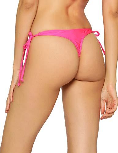 RELLECIGA Women's Neon Rose Tie Side Thong Bikini Bottom Size X-Small