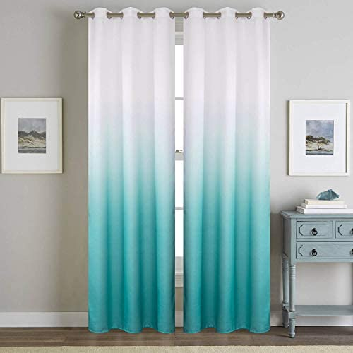 Turquoise Ombre Semi Blackout Curtains 2 Panels Teal Half Room Darkening Thermal Grommet Window Treatment Curtains 96 Inches Long for Living Room Bedroom Sliding Glass Door Decor Aqua and White