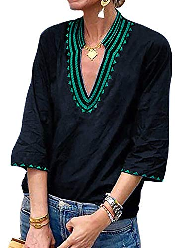 Womens Boho Embroidered V Neck 3/4 Sleeve Casual T-Shirt Tops Loose Blouse Green Small