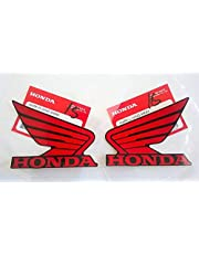 Honda 86201-K26-A00ZD / 86201-K26-A00ZD - Honda Wings Fuel Tank Gas Tank Stickers Decals 2 X 85MM Red/Black Left & Right Genuine