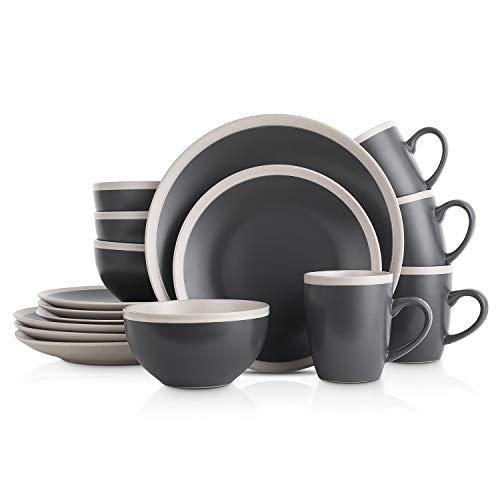 Stone Lain Dinnerware Set, 16 Piece, Dark Gray and Cream