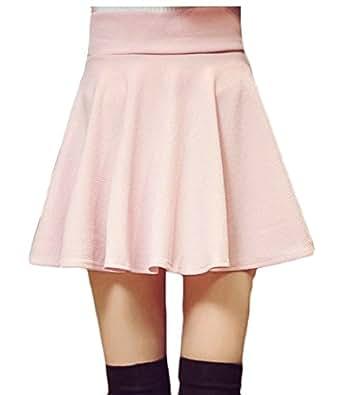fanmeili-AU Women's Casual High Waist A Line Pleated Flared Skater Mini Skirt 1 L