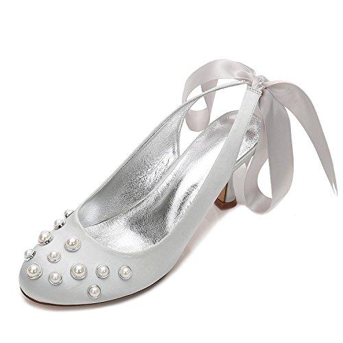 Novia De Satén Tacón E17061 L yc Alto 20 Para Perla Silver Mujer Medida Verano Boda Y Zapatos a ACPfp