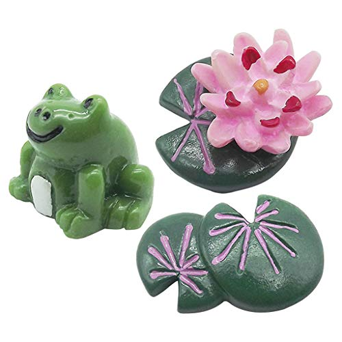 Misright 3Pcs Resin Lotus Leaf Flower Frog Set Fairy Garden Miniature Ornaments Kit for DIY Dollhouse Décor