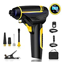 Automatic Cordless Tire Inflator,Portable Hand Held Cordless Tire Inflator Portable Air Compressor,Vehicle-mounted Air Pump, Preset Feature, Easy to Read Digital Pressure Gauge, Built in LED Light