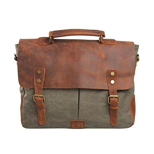 Vrikoo Vintage Genuine Leather Military Canvas 14 Laptop Briefcase Messenger Bag (coral Green) Ejercito Verde