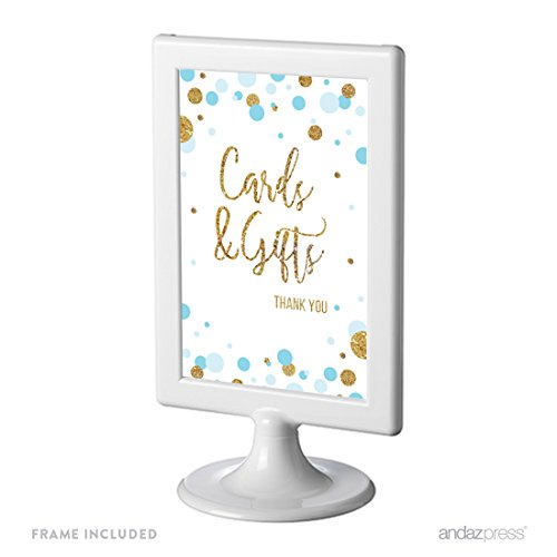 Andaz Press Light Blue Gold Glitter Boy Baby Shower Party Collection, Framed Party Sign, Cards & Gifts Thank You Table Signage, 4x6-inch, 1-Pack, Includes Frame