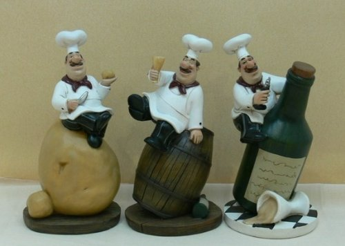 Fat Chef Kitchen Statues Set of 3 Italian Bistro Cooking D64140SET (Fat Bistro Chef Dishes compare prices)