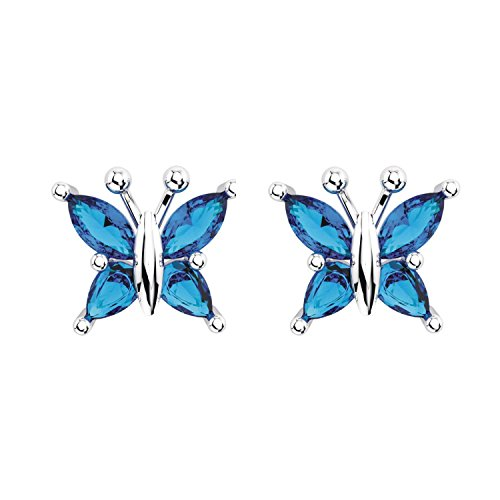 Sterling Silver Marquise Cut Natural Swiss Blue Topaz Butterfly Stud Earrings for Women -