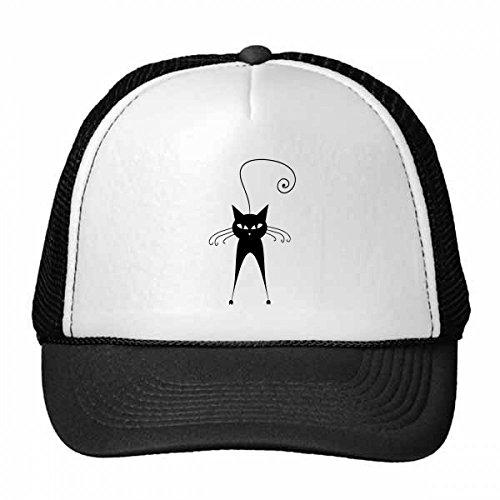 DIYthinker Cute Black Cat Pet Lover Animal Art Silhouette Trucker Hat Baseball Cap Nylon Mesh Hat Cool Children Hat Adjustable Cap Gift