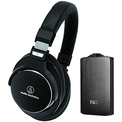 Audio-Technica SonicPro SR7 Over-Ear High-Resolution Headphones with Active Noise Cancellation + FiiO A3 Portable Headphone Amplifier