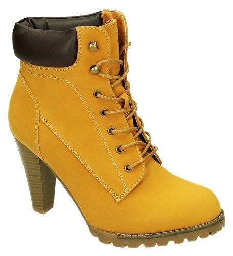 Damen Schnür High Heels Stiefeletten Knöchelhohe Ankle Boots Kurzschaft Stiefel 35-2 Camel