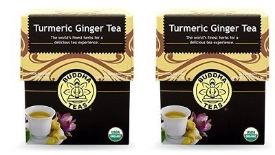 Turmeric Ginger Tea Organic Herbs 18 Bleach Free Tea Bags (2 Pack)