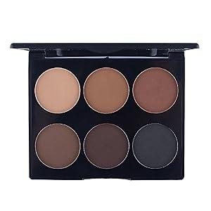 Ucanbe 6 Color Contour Kit Bronzer Face Powder Palette Contouring Makeup Set with Mirror,#3