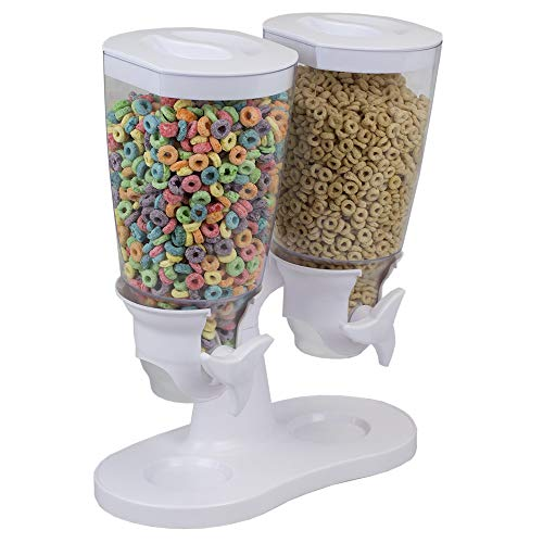 - Home Basics Double Airtight Cereal and Dry Food Dispenser for Home Kitchen Countertop, Breakfast, Pets, Cat Food, Dog Food, Candy, Coffee Beans, Granola, Trail Mix, each chamber fits 120 OZ /3.5L