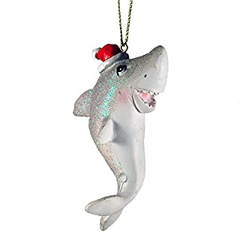 Glittery Shark With Santa Hat Hanging Christmas Ornament
