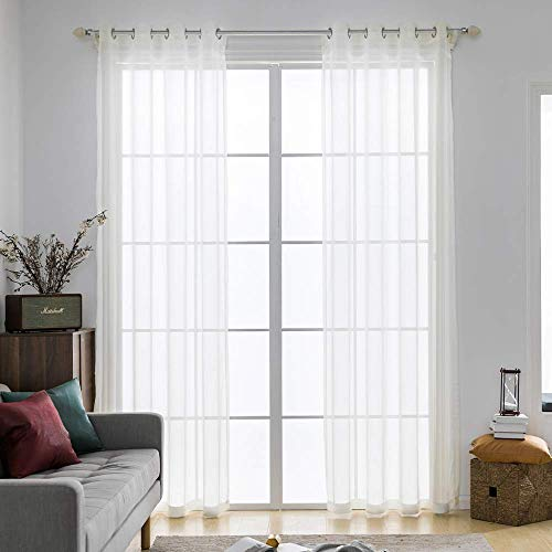 MIULEE 2 Panels Solid Color Ivory Sheer Curtains Elegant Grommet Top Window Voile Panels/Drapes/Treatment for Bedroom Living Room (54X72 Inches)