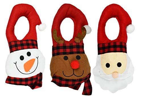 Black Duck Brand Set of 3 Holiday Felt Door Hangers! Santa, Reindeer, and Snowman! Perfect for Holiday Decor! (3 Door Hangers)