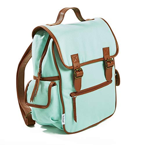 Fit & Fresh Mini Backpack for Teens and Adults, Two Buckle Closure, Aqua with Brown Trim