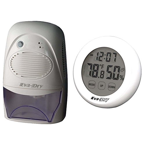 Eva-dry Edv-2200 Dehumidifier + Eva-Dry Indoor Humidity Monitor Hygrometer,White, Gray by Eva-Dry