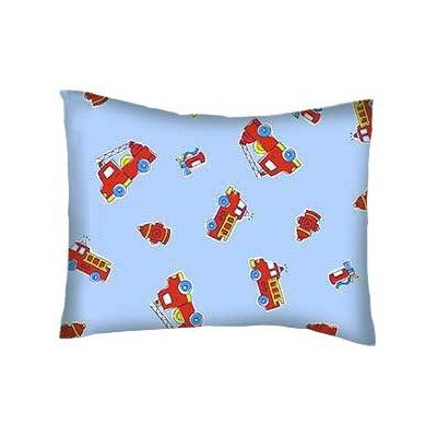 ddler Percale Baby Pillow Case - Fire Engines Blue - Made In USA (Cotton Fire Engine)