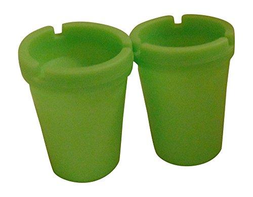 2 PK. ASHTRAY - NEON GREEN - STUB OUT FULL GLOW IN THE DARK CUP - SELF EXTINGUISHING CIGARETTE ASHTRAY - BUTT BUCKET - PORTABLE ASHTRAY