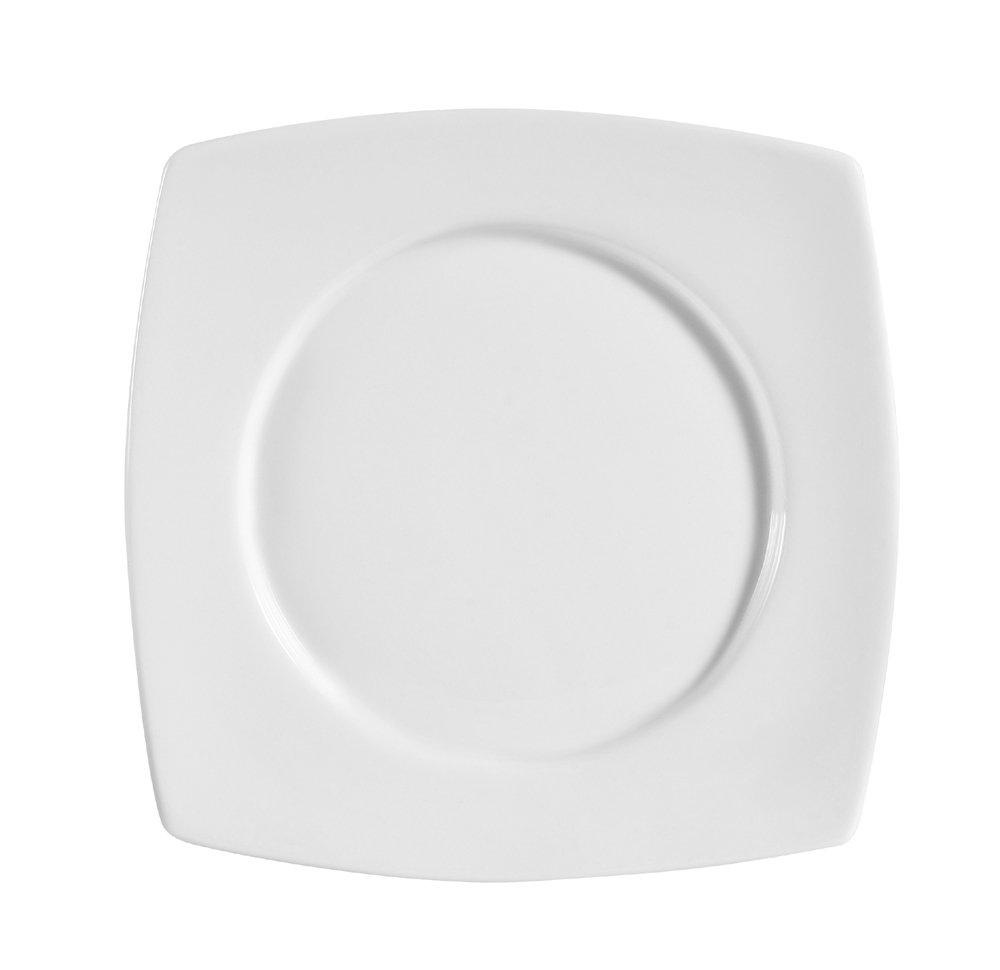 CAC China RCN-SQ21 Clinton Square 11-7/8-Inch Porcelain Round-in-Square Plate, Super White, Box of 12