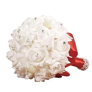 BCDshop Hat Wedding Flowers Bridal Bride Bridesmaid Bouquet Crystal Rose 8