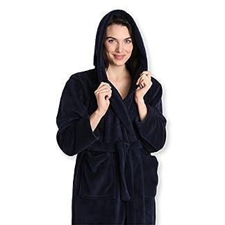 b21edc6223 Pembrook Ladies Robe with Hood – Plush Fleece – Kimono Wrap – Spa Bathrobe  Women