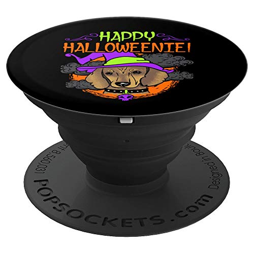 Dachshund Dog Wiener Witch Happy Halloweenie Halloween - PopSockets Grip and Stand for Phones and Tablets -