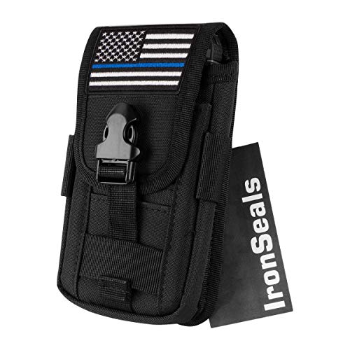 "IronSeals AQ Tactical Cell Phone Holster Pouch, Tactical Smartphone Pouches EDC Cellphone Case Molle Gadget Bag Molle Attachment Belt Holder Waist Bag for 4""-5.7"" with Armor Case on with US Flag Patch"