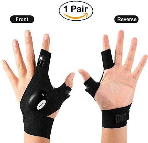 Ultraw LED Flashlight Gloves for Fishing, Repair, and garage work - Cool new Gadget for Men, perfect Gift for Husband and Father, includes 2 Pieces (1 pair)
