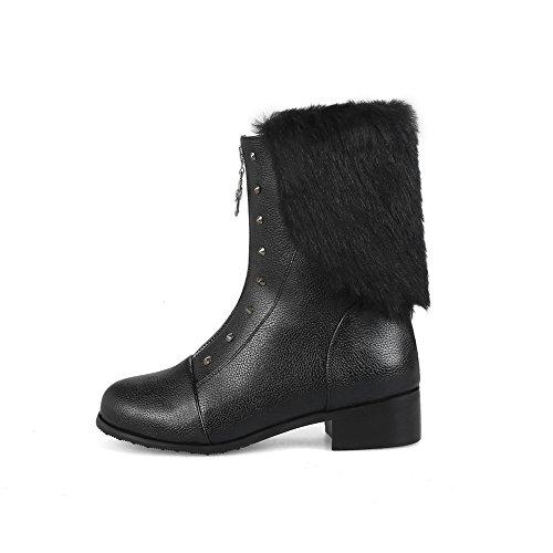 BalaMasa Mid Calf Fringe Womens Black Zip ABL10547 Urethane Boots Studded UUSwgrq