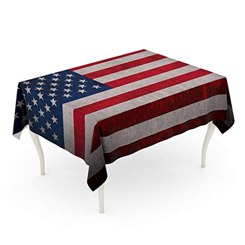 Tarolo Rectangle Tablecloth 52 x 70 Inch Blue American Flag of USA Red July Forth Retro States United Table Cloth