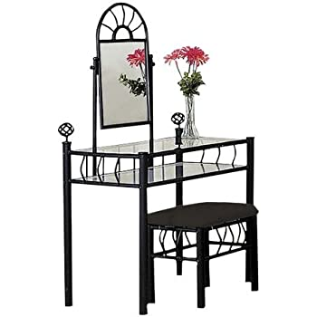 amazon com black metal bedroom vanity with glass table 11700 | 41hyeiprecl sl500 ac ss350